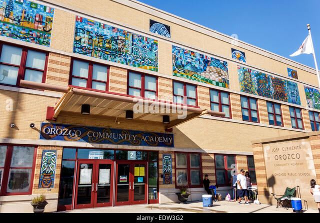 Chicago Illinois Lower West Side Jose Clemente Orozco Community Academy school front entrance - Stock Image