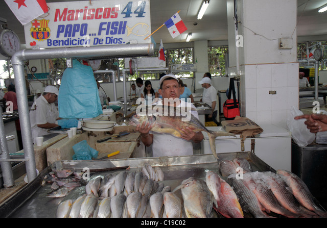 Panama City Panama Ancon Mercado de Mariscos market merchant shopping retail selling fish seafood business Hispanic - Stock Image