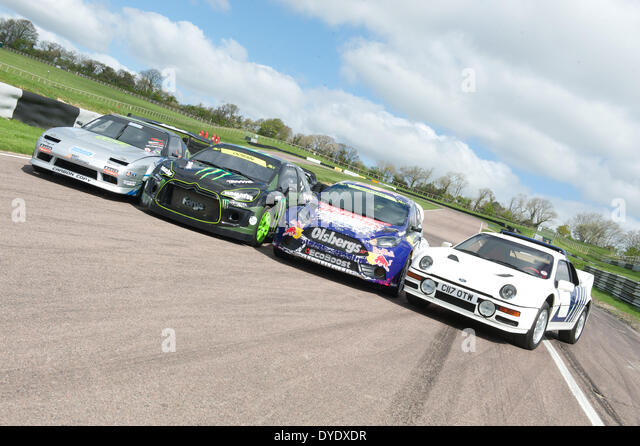 A line of fast cars art Lydden Hill circuit Kent. - Stock Image