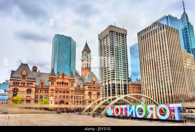 Nathan Phillips Square and Old City Hall of Toronto, Canada - Stock Image