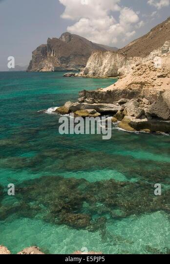 The limestone coast of southern Oman, Mughsayl, Salalah, Dhofar, Oman, Middle East - Stock Image