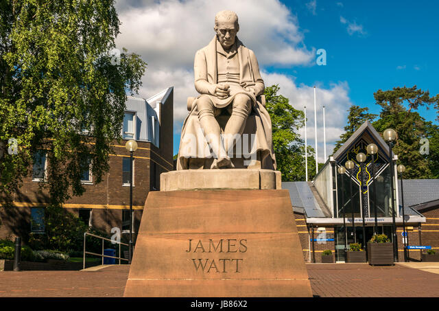 Statue of James Watt, inventor and engineer, by Peter Slater, entrance of Heriot Watt University campus Riccarton, - Stock Image