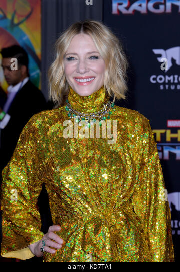 Los Angeles, USA. 10th Oct, 2017. Cate Blanchett at the premiere for 'Thor: Ragnarok' at the El Capitan - Stock Image