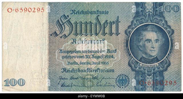 Reichsbank banknote, Justus von Liebig, 1803 - 1873, a German chemist and professor, - Stock Image