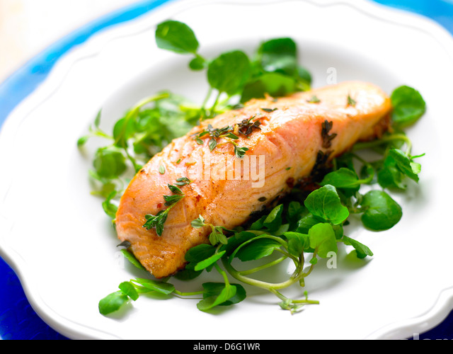 Salmon Fillet Pan Cooked with Watercress - Stock Image