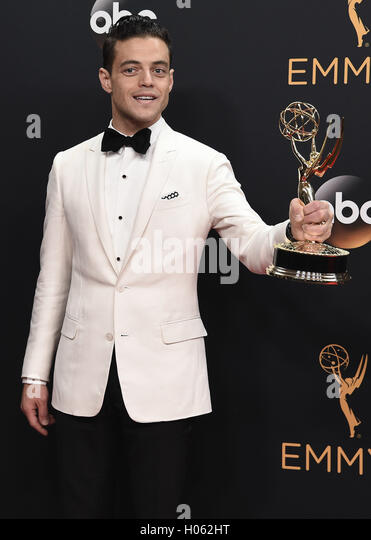 LOS ANGELES, CA - SEPTEMBER 18:  Rami Malek in the press room at the 68th Emmy Awards at the Microsoft Theater on - Stock-Bilder