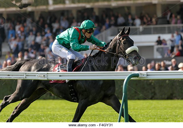 Paris, France. October 3rd, 2015. FRANCE, Paris: A jockey gets on a horse during 94th Prix de l'Arc de Triomphe - Stock Image