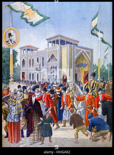 Illustration showing the Persian (Iranian) Pavilion, at the Exposition Universelle of 1900. - Stock Image