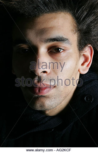 gay male fashion headshot - Stock Image