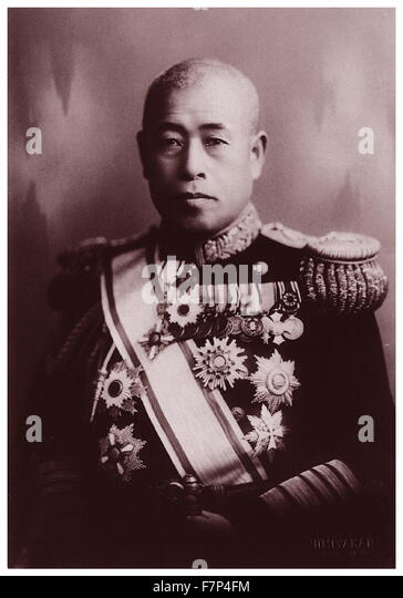 Photograph of Isoroku Yamamoto (1884-1943) Japanese Marshal Admiral and the commander-in-chief of the Combined Fleet - Stock Image
