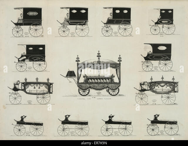 Funeral cars nos. 17-30. - Stock Image