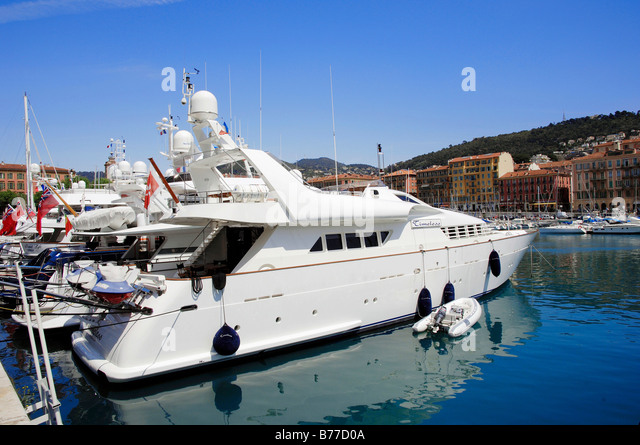 Yacht at harbour, Nice, Alpes-Maritimes, Provence-Alpes-Cote d'Azur, Southern France, France, Europe - Stock Image