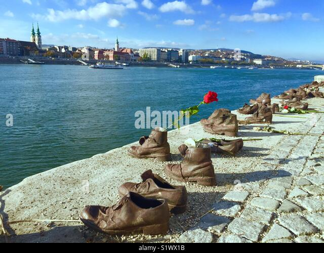 Shoes on the Danube Bank (Budapest, Hungary) - Stock Image