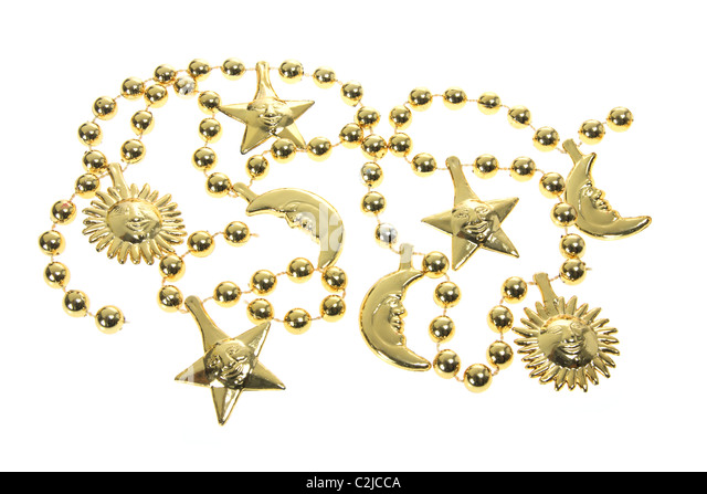 Gold Beaded Necklaces - Stock Image