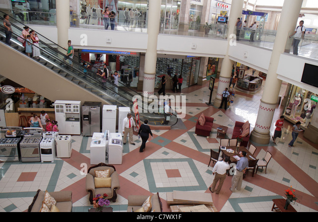 Nicaragua Managua Metrocentro shopping center centre mall stores storefronts overhead view furniture display for - Stock Image