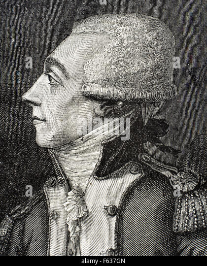 Marquis de Lafayette (1757-1834). French aristocrat and military officer Portrait. Engraving. - Stock Image