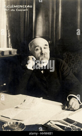 Georges Clemenceau sitting at desk. French Prime Minister, 1841-1929. - Stock Image