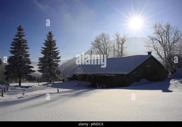 Germany, Bavaria, coil stone region, Mangfallfgebirge, Tatzelwurm, Sudelfeldregion, winter scenery, wooden hut, - Stock Image