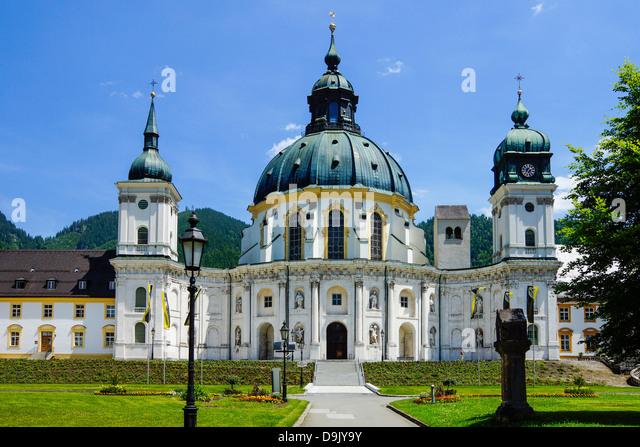 Germany Upper Bavaria, Ettal Abbey, near Oberammergau, monastery church - Stock-Bilder