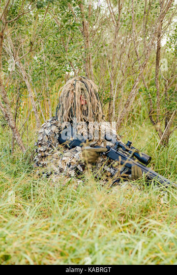 Law enforcement SWAT sniper in a ghillie suit crouched in dense foliage with his rifle and scope during a training - Stock Image
