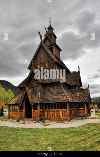 Scenic front view of Gol, wooden church in Norway - Stock Image