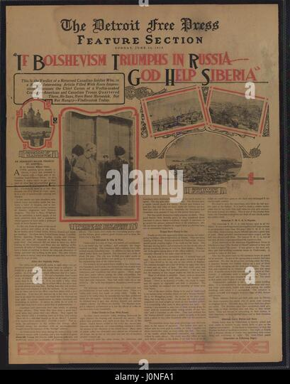 Poster from the Detroit Free Press entitled If Bolshevism triumphs in Russia, discussing Russian communism, Detroit, - Stock Image