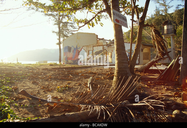 The aftermath of the Boxing Day Tsunami wreckage to a coastal village. - Stock Image