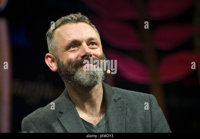 Michael Sheen actor giving the Aneurin Bevan Lecture on stage at Hay Festival of Literature and the Arts 2017 Hay - Stock Image