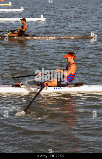 single mens rowing, start of race - Stock Image