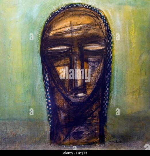 Head painting acrylic on canvas art ; India - Stock Image