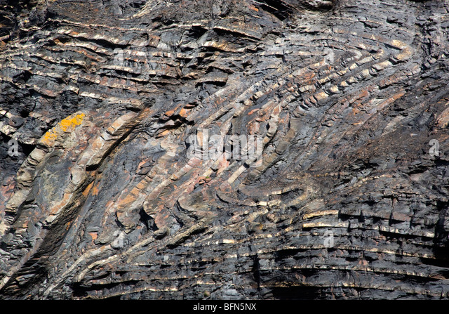 Strangles; geology part of the Crackington Haven formation; Cornwall - Stock Image