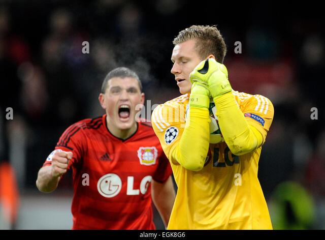 Bayarena Leverkusen, Germany 25.2.2015, Football Champions-League Season 2014/2015  Bayer 04 Leverkusen vs. Atletico - Stock-Bilder
