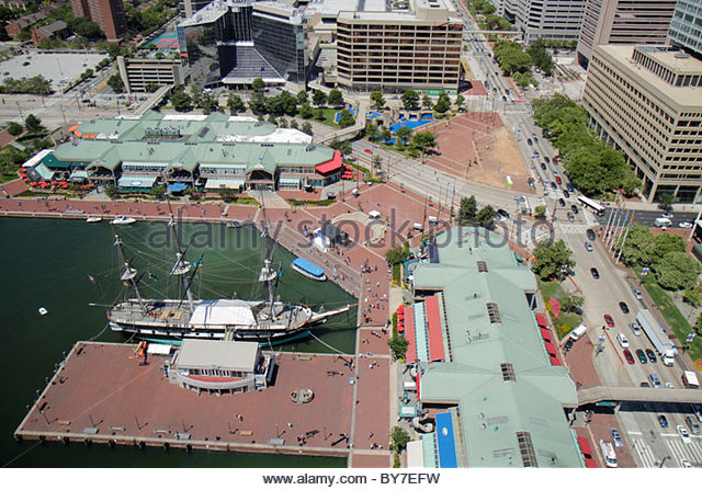 Maryland Baltimore Inner Harbor World Trade Center Top of the World view port waterfront promenade Harborplace attraction - Stock Image