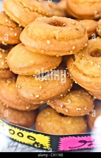 Sweet doughnuts, Houmt Souk, Djerba, Tunisia - Stock Image