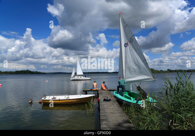 Zarrentin, sailing boats, lake  Schaalsee, Mecklenburg Western Pomerania, Germany, Europe - Stock Image