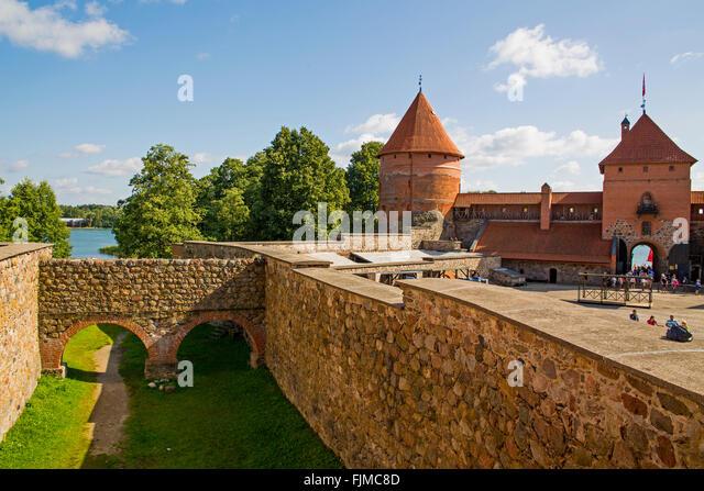 geography / travel, Lithuania, Trakai, Trakai Castle, defensive corridor, Lietuva, Baltics, Baltic area, Baltic - Stock-Bilder