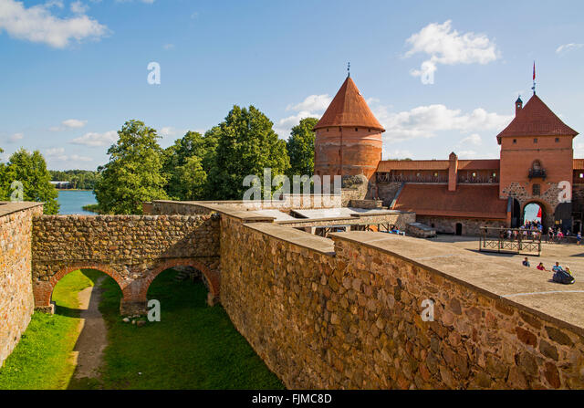 geography / travel, Lithuania, Trakai, Trakai Castle, defensive corridor,Lietuva, Baltics, Baltic area, Baltic states, - Stock-Bilder
