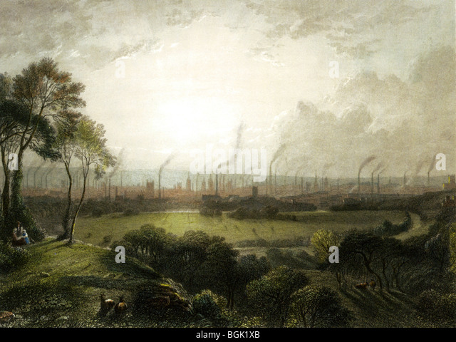 MANCHESTER seen from Kersal Moor in 1857 - a vivid contrast between pastoral fields and a bustling city of 300,000 - Stock-Bilder