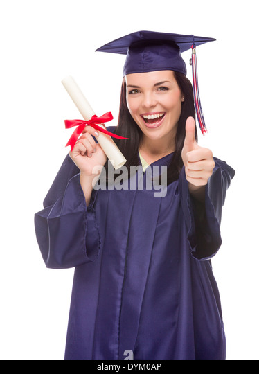 Happy Graduating Mixed Race Female Wearing Cap and Gown with Her Diploma Isolated on White Background. - Stock Image