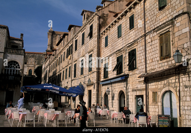 Dubrovnik Croatia Old Town Outdoor Cafe - Stock Image