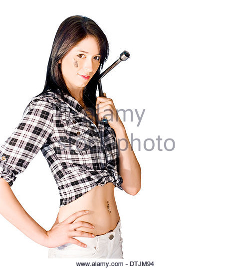 Tyre Change And Wheel Alignment Concept See A Female Mechanic Holding A Tire Brace Tool In A Studio Image Isolated - Stock Image