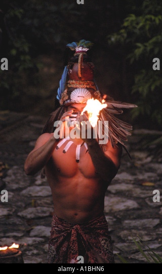 Mexico xcaret theme park Maya indian dancer - Stock Image