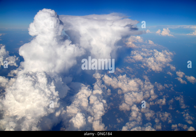 Charlotte North Carolina onboard inflight US Airways from Miami window seat view aerial sky clouds atmosphere weather - Stock Image