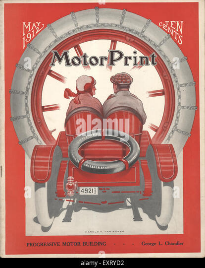 1910s USA Motor Print Magazine Cover - Stock Image