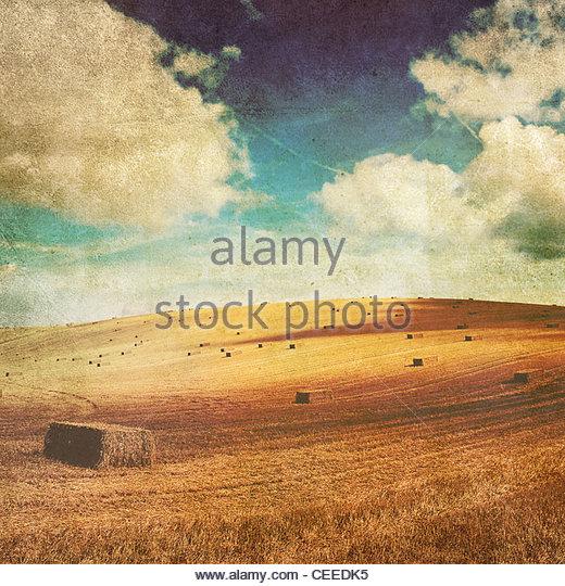 retro haystacks - Stock-Bilder