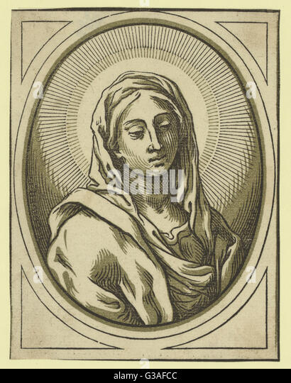 Head of the Virgin. Print shows Virgin Mary. Date between 1630 and 1655. - Stock Image