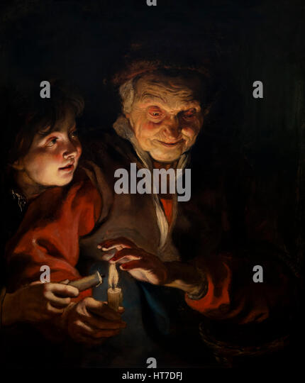 Old Woman and Boy with Candles, by Peter Paul Rubens, circa 1616, Royal Art Gallery, Mauritshuis Museum, The Hague, - Stock Image