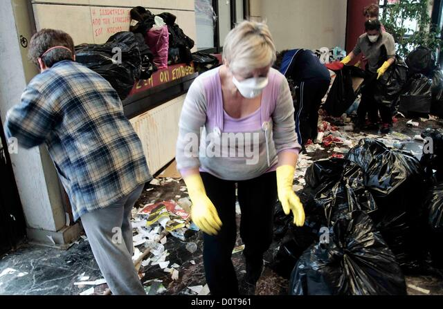 A voluntary group of professors and students eliminate the accumulated garbage at the Aristotle University in Thessaloniki, - Stock Image