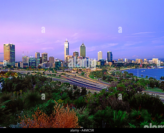 The Perth skyline at dusk. Perth is the capital of Western Australia. Photographed on 6X7 transparency film. - Stock-Bilder