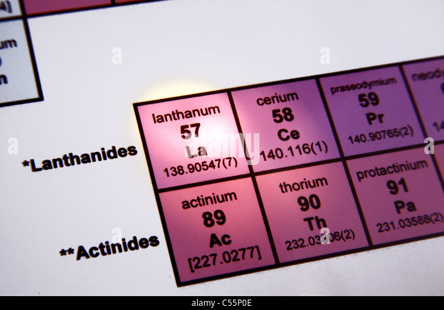 The Periodic Table of Elements; Rare Earth Elements; Focus on Lanthanum - Stock Image